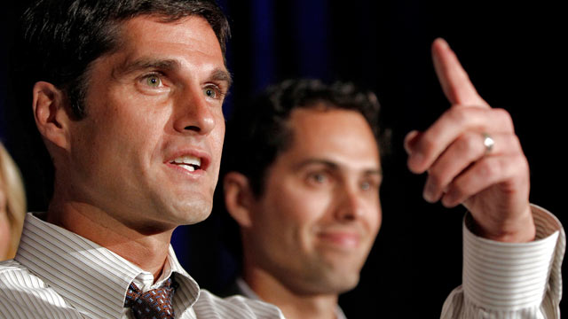 PHOTO: Matt Romney, left, and Craig Romney, both sons of Republican presidential candidate Mitt Romney, speak at an Arizona Primary night party, Feb. 28, 2012, in Phoenix, AZ.