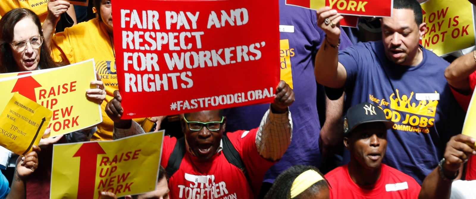 PHOTO: In a June 17, 2014 file photo, protesters rally for an increase in the minimum wage on the Great Western Staircase at the Capitol, in Albany, N.Y.