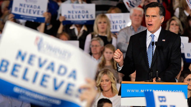 PHOTO:In this Feb. 4, 2012 file photo, Republican presidential candidate Mitt Romney speaks in Las Vegas. President Barack Obama and his Republican rival Mitt Romney are battling more than just each other in diverse and politically divided Nevada.