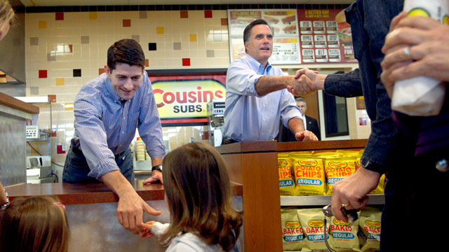 PHOTO: Republican presidential candidate, former Mass. Gov. Mitt Romney, accompanied by House Budget Committee Chairman Rep. Paul Ryan, R-Wis, greet people and hand out submarine sandwiches during a campaign stop at a Cousins Subs fast food restaurant in