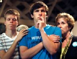 PHOTO: Seth Keel, center, is consoled by his boyfriend, Ian Chambers, left, and his mother Jill Hinton, at an Amendment One opposition party, May 8, 2012, in Raleigh, N.C.