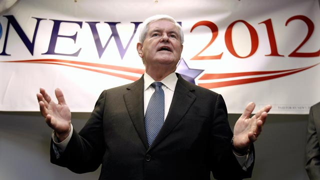 PHOTO: Republican presidential candidate, former House Speaker Newt Gingrich speaks to supporters at a kick-off party for the opening of the Newt2012 office in Manchester, N.H. on Nov. 11, 2011.
