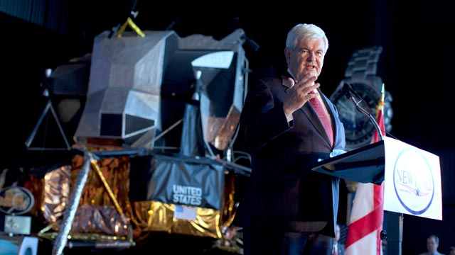 PHOTO: Republican presidential candidate, former House Speaker Newt Gingrich speaks at the U.S. Space and Rocket Center on March 6, 2012, in Huntsville, Ala.