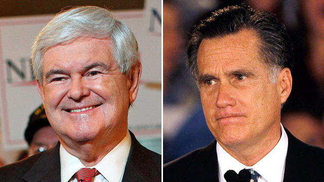 PHOTO: Newt Gingrich, (l), and Mitt Romney are pictured January 21, 2012, on South Carolina presidential primary day, in Spartanburg, S.C.