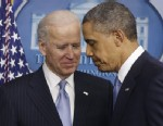 PHOTO: President Barack Obama and Vice President Joe Biden walk away from the podium after Obama made a statement regarding the passage of the fiscal cliff bill in the Brady Press Briefing Room at the White House in Washington, Tuesday, Jan. 1, 2013.