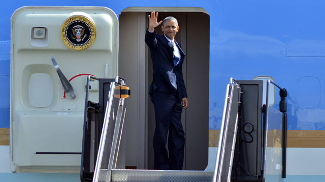 PHOTO: President Barack Obama waves to reporters as he boards Air Force One at Bostons Logan International Airport in this April 18, 2013 file photo.