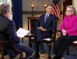 PHOTO:President Barack Obama, center, and Secretary of State Hillary Rodham Clinton speak with ?60 Minutes? correspondent Steve Kroft, left, in the Blue Room of the White House in Washington.