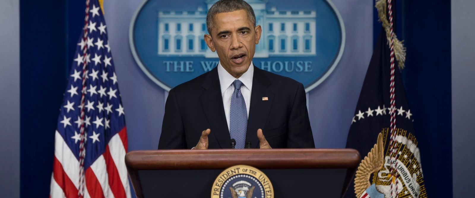 PHOTO: President Barack Obama speaks during a news conference in the Brady Press Briefing Room of the White House in Washington, Dec. 19, 2014.