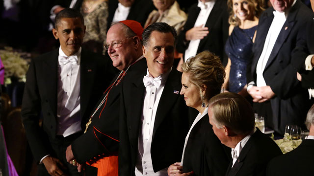 PHOTO: Republican presidential candidate and former Massachusetts Gov. Mitt Romney and President Barack Obama, left, attend the 67th annual Alfred E. Smith Memorial Foundation Dinner, a charity gala organized by the Archdiocese of New York, Thursday, Oct.
