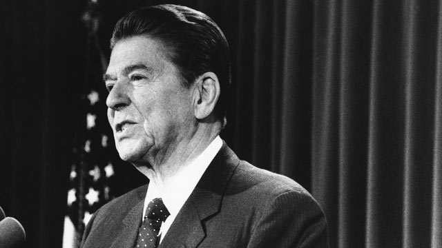 PHOTO: President Ronald Reagan addresses Western Hemisphere leaders on Jan. 24, 1985 in Washington about Iran joining other radical forces in aiding Nicaragua's Sandinista regime, which became known as the Iran-Contra scandal.