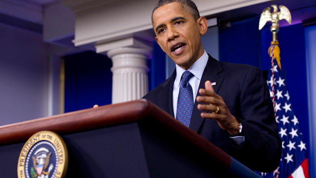 PHOTO: President Barack Obama talks about the economy, June 8, 2012, in the briefing room of the White House in Washington.