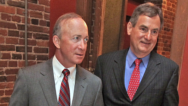 PHOTO: Gov. Mitch Daniels, left, and Richard Mourdock, in Wilmington, N.C. on May 9. 2012.