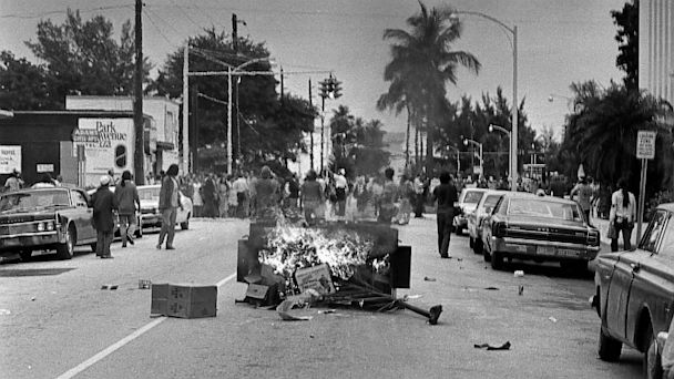 PHOTO: A trash receptacle set ablaze by demonstrators stops traffic on a street near the Miami Beach Convention Hall, Aug. 23, 1972, as Republican National Convention delegates were trying to assemble for their final session.