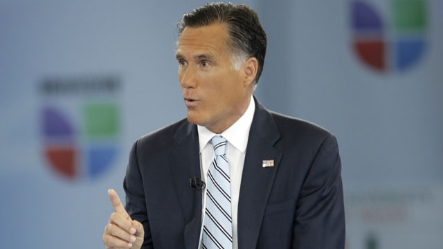 """PHOTO:Republican presidential candidate and former Massachusetts Gov. Mitt Romney participates in a Univision """"Meet the Candidates"""" forum with Jorge Ramos and Maria Elena Salinas in Coral Gables, Fla., Wednesday, Sept. 19, 2012."""