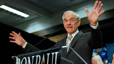 PHOTO: Republican presidential candidate Rep. Ron Paul speaks to his supporters following his loss in the Maine caucus to Mitt Romney, in Portland, Maine.