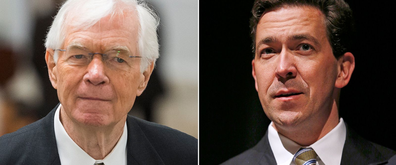 PHOTO: Senator Thad Cochran approaches the Senate floor on May 13, 2014 and Miss. Senator Chris McDaniel speaks to a town hall meeting in Ocean Springs, Miss. on March 18, 2014.