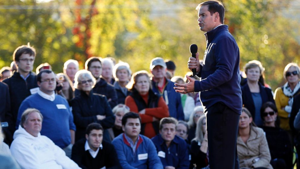 PHOTO: Republican presidential candidate Sen. Marco Rubio, R-Fla.,speaks during a house party campaign stop Oct. 6, 2015, in Bedford, N.H.