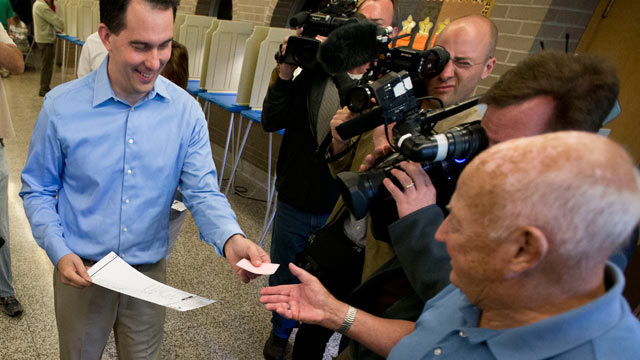 PHOTO: Wisconsin Republican Gov. Scott Walker casts his ballot Tuesday, June 5, 2012, in Wauwatosa, Wis.