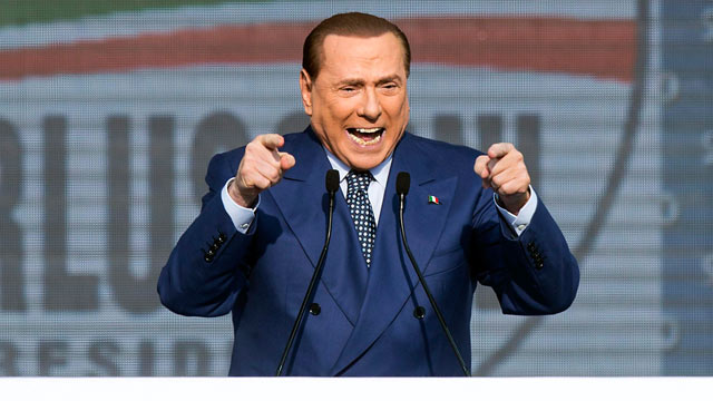 PHOTO: Former Italian Premier and leader of the center-right coalition Silvio Berlusconi speaks in Rome, March 23, 2013.