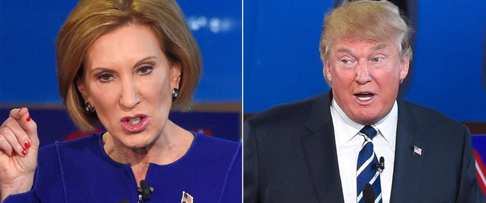 PHOTO: Carly Fiorina and Donald Trump during the CNN Republican presidential debate on Sept. 16, 2015, in Simi Valley, Calif.