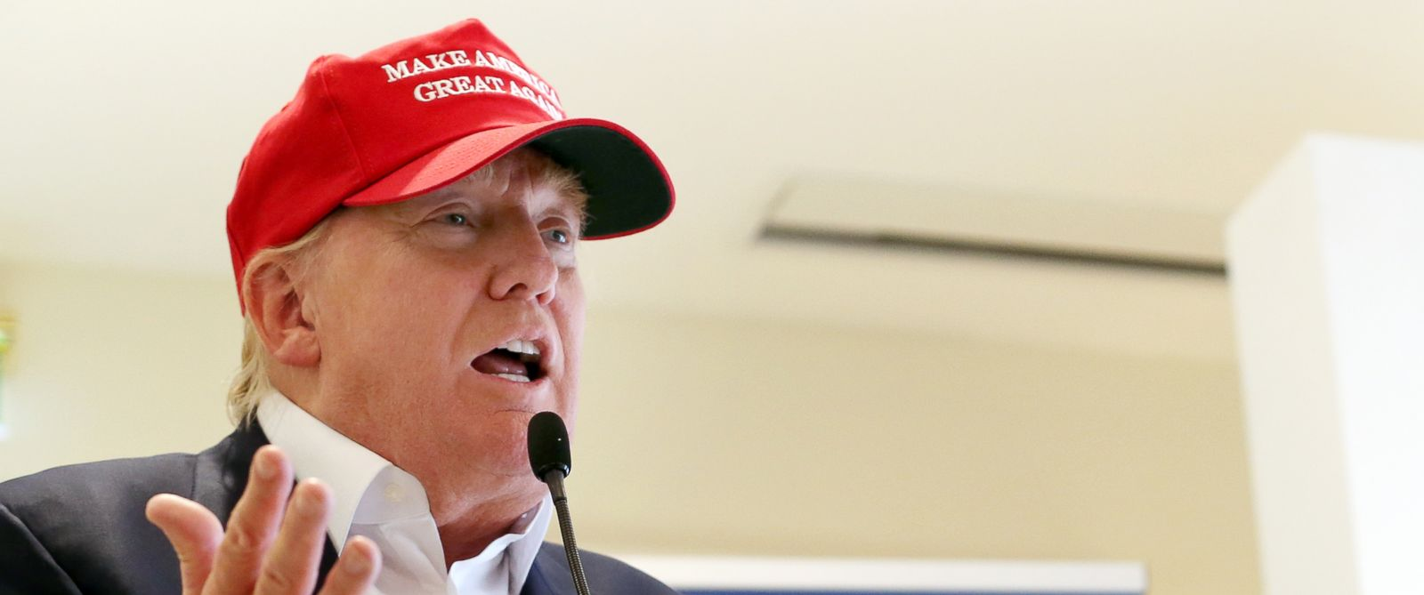 PHOTO: In this July 30, 2015 file photo, Republican presidential candidate Donald Trump speaks to the media during a news conference on the first day of the Womens British Open golf championship on the Turnberry golf course in Turnberry, Scotland.