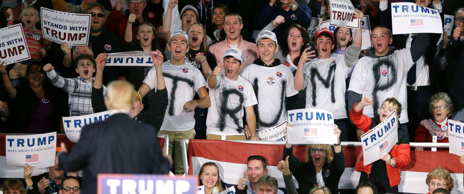 PHOTO: Republican presidential candidate Donald Trump is greeted by supporters before speaking at a campaign rally, Dec. 5, 2015, in Davenport, Iowa.