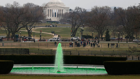 ap white house fountain st patricks day jt 130317 wblog White House Fountain Dyed Green for St. Patricks Day