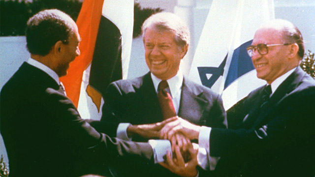 PHOTO: Anwar Sadat, Jimmy Carter and Menachem Begin