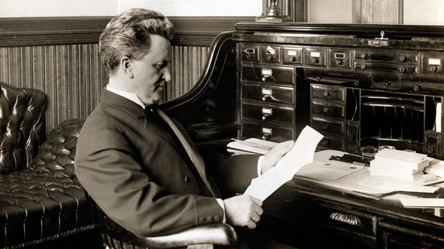 PHOTO: Robert Marion La Follette, Sr. (1855-1925), American politician, sits in his office in this undated photo.