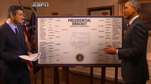 The president chooses Florida, Arizona, Louisville and Michigan State for his Final Four picks.
