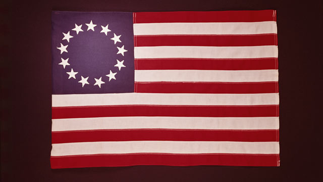 PHOTO: A 1776 Colonial U.S. flag, showing 13 stars.