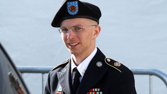 PHOTO: U.S. Army Private Bradley Manning is escorted as he leaves a military court at the end of the first of a three-day motion hearing June 6, 2012 in Fort Meade, Maryland.