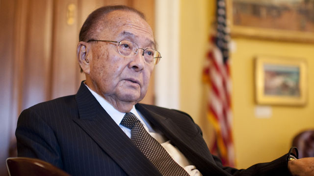 PHOTO: Sen. Daniel Inouye, D-Hawaii, chairman of the Senate Appropriations Committee, is interviewed by Roll Call in his Capitol office.