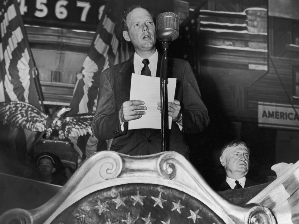 PHOTO: Charles Lindbergh speaks to a large crowd of America First Committee supporters in 1941.