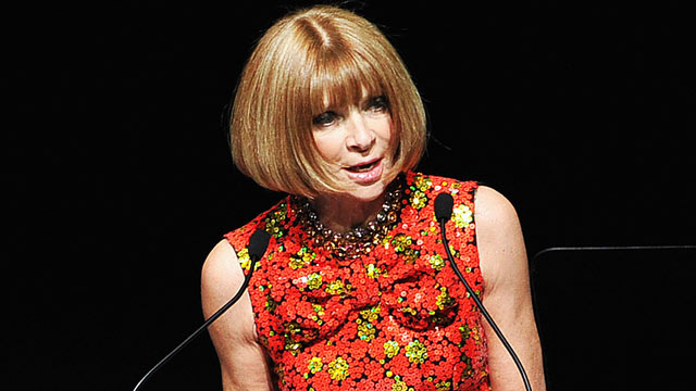 PHOTO: Anna Wintour speaks on stage at the 2012 CFDA Fashion Awards at Alice Tully Hall, June 4, 2012 in New York City.
