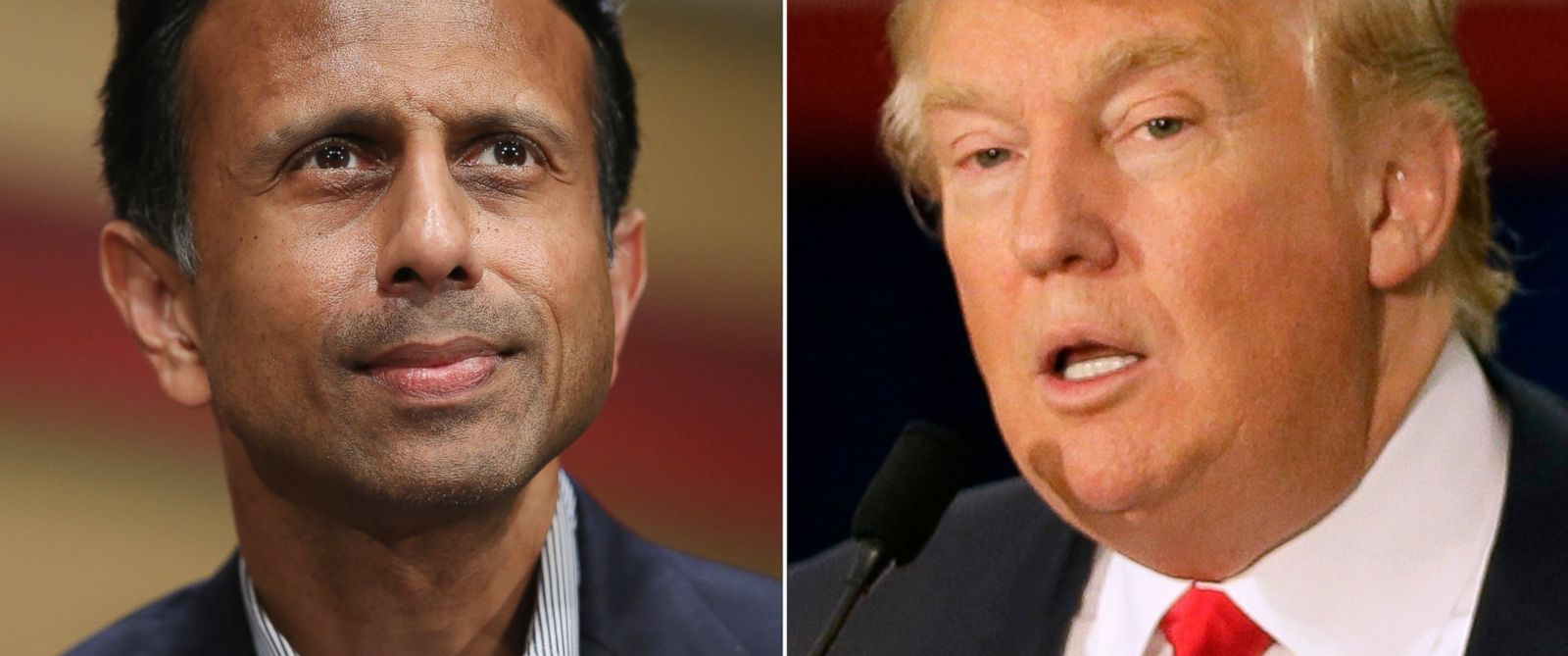 PHOTO: Bobby Jindal speaks in Ames, Iowa on July 18, 2015 and Donald Trump speaks in Dubuque, Iowa on Aug. 25, 2015.