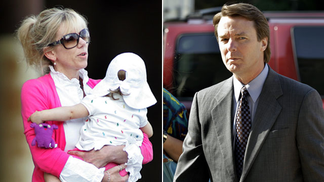 PHOTO: Rielle Hunter carries her daughter, left, in this file photo./John Edwards arrives at a federal courthouse in Greensboro, N.C., May 7, 2012.