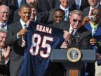 PHOTO: Chicago Bears head coach Mike Ditka presents a Bears jersey to President Barack Obama during an event celebrating 1985 Super Bowl champions, Oct. 7, 2011, on the South Lawn of the White House in Washington.