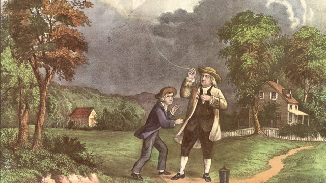 PHOTO: A Currier & Ives lithograph of Benjamin Franklin and his son William using a kite and key during a storm to prove that lightning was electricity, June 1752.