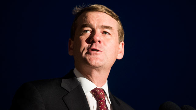 PHOTO: Sen. Michael Bennet, D-Colo., speaks at the west front of the Capitol on Dec. 4, 2012.