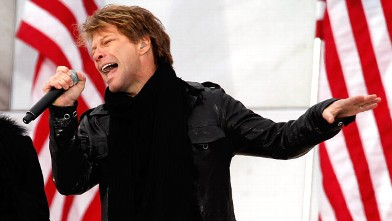 "PHOTO: Jon Bon Jovi performs in front of the Lincoln Memorial during the ""We Are One: The Obama Inaugural Celebration At The Lincoln Memorial"", in this Jan. 18, 2009 file photo at the National Mall in Washington, DC."