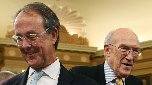 PHOTO: Co-chairmen of the National Commission on Fiscal Responsibility and Reform, Erskine Bowles, left, and former Sen. Alan Simpson, (R-WY) right, participate in a Joint Deficit Reduction Committee hearing on Capitol Hill, Nov. 1, 2011, in Washington,