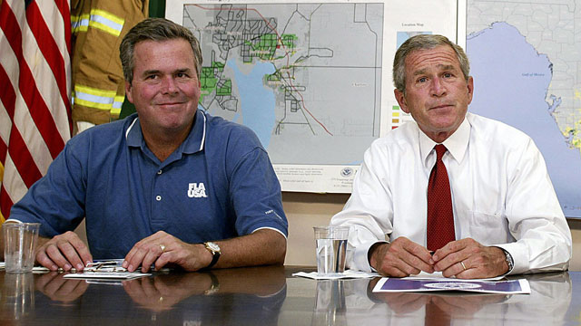 PHOTO: US President George W. Bush, right, and his brother, Florida Governor Jeb Bush, participate in a briefing on Tropical Storm Bonnie and Hurricane Charley in this Aug. 27, 2004 file photo in Miami, Fla.