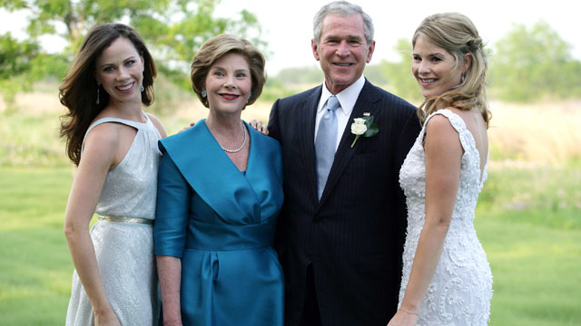 PHOTO: George W. Bush and Mrs. Laura Bush pose with daughters Jenna (R) and Barbara (L) prior to the wedding of Jenna and Henry Hager in this <p itemprop=