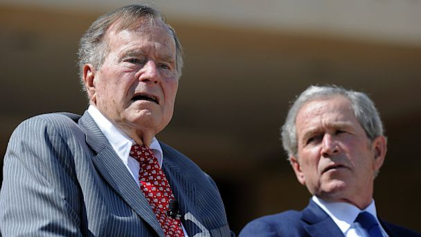 PHOTO: Former Presidents George H.W. Bush and George W. Bush attend the George W. Bush Presidential Center dedication ceremony in Dallas, Texas, on April 25, 2013.