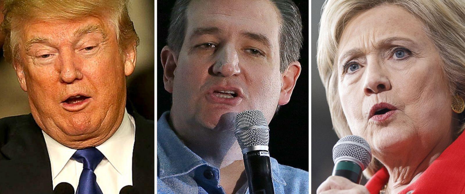 PHOTO: Donald Trump speaks in Clinton, Iowa on Jan. 30, 2016, Ted Cruz speaks in Des Moines, Iowa, Jan. 31, 2016 and Hillary Clinton speaks in Ames, Iowa, Jan. 30, 2016.
