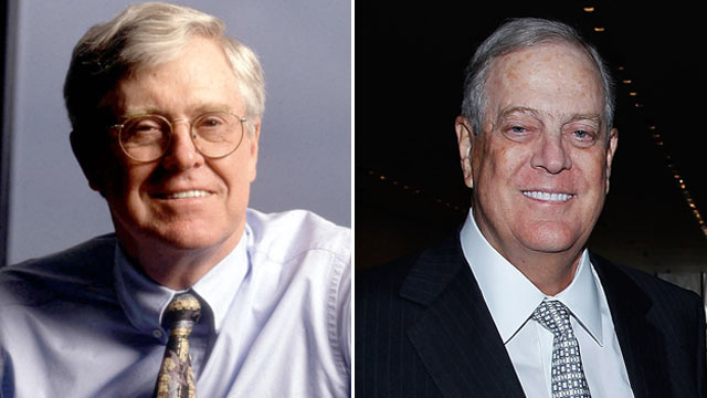 PHOTO: CEO Charles Koch of Koch Industries poses for a portrait in Kansas, Nov. 10, 1998.| David Koch attends the 2011 David Rockefeller Award Luncheon at The Museum of Modern Art on March 8, 2011 in New York City.