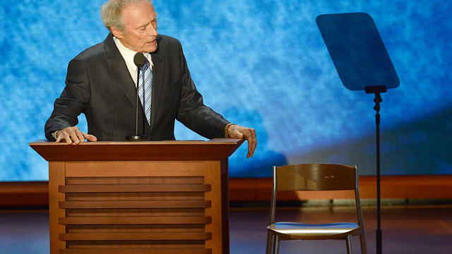 PHOTO: Clint Eastwood address a chair that he pretends has President Obama in it during his speech on the final day of the 2012 Republican National Convention, Aug. 30, 2012 in Tampa, Florida.