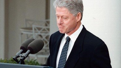 PHOTO: President Bill Clinton speaks to the press at the White House after the Senate acquitted him in the Senate impeachment trial, Feb. 12, 1999.