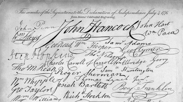 PHOTO: The signatures on the Declaration of Independence.